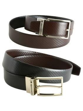 Men's Dress Belt Reversible Black Brown Leather Imported from Spain