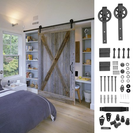 6.6ft Sliding Barn Wood Door Hardware For Single Door , Classic Country Roller Track Kit(Black), Add 1 x Pull Handle Set & 1 x Door Lock