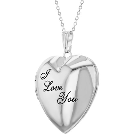"Remembrance ""I Love You"" Photo Heart Locket Necklace Pendant 19"" - image 6 of 8"