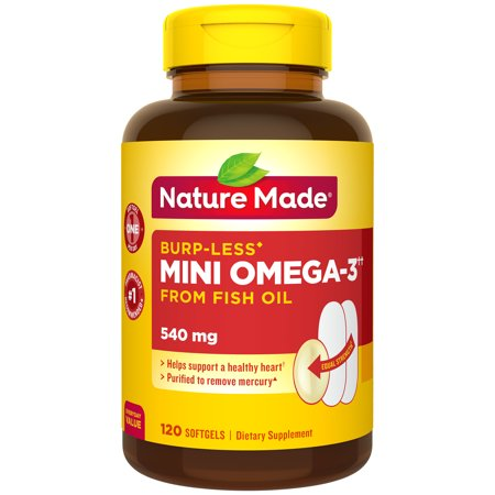 Nature Made Burp-Less Mini Omega-3†† from Fish Oil, 120 Count for Heart