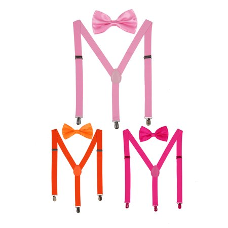 Bow Tie Set Y Shape Adjustable Elastic Shoulder Strap Suspenders orange+sky blue+coffee - White Bowtie