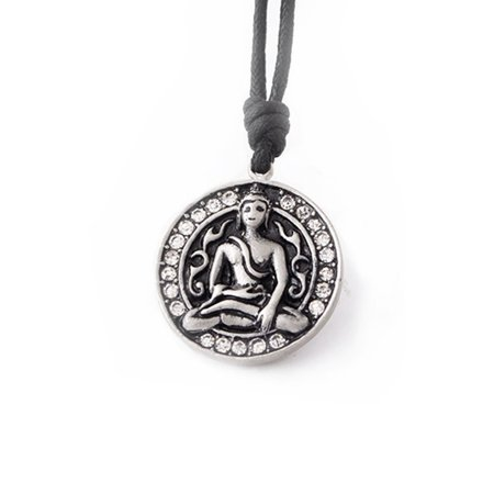 Thai Buddha Silver Pewter Charm Necklace Pendant Jewelry With Cotton Cord (Charms For Jewelry Making Buddha)