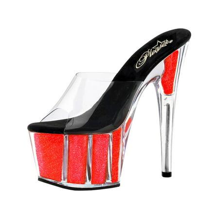 Trendy Neon Glitter Heels with 7 Inch Stiletto Heel and 2.75 Inch Platform (7 Inch Platforms)