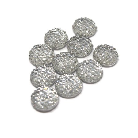 Round Self Adhesive Diamond Cluster Gems, Silver, 12mm, 10-Count