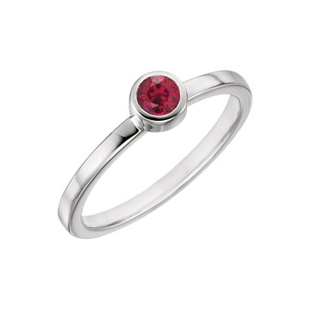 14k White Gold Gem Quality Chatham® Created Ruby Bezel Set Solitaire Gemstone Ring