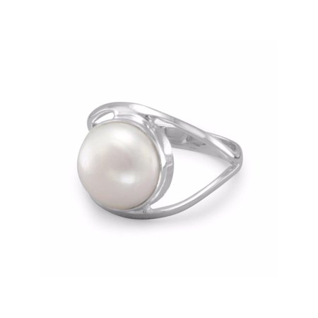 10 Mm Pearl Ring - White Cultured Freshwater Pearl 10mm Open Split Band Ring Sterling Silver