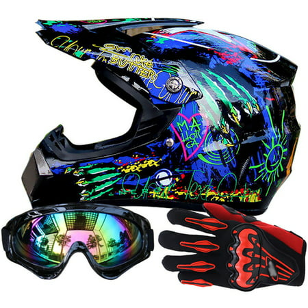 TINTON LIFE Men Helmet + Goggles + Gloves Racing Helmet Dirt Bike ATV Gear Motocross Helmet, color3