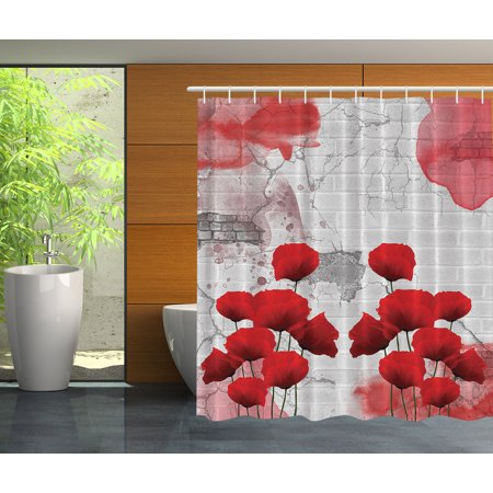 Red poppy fabric shower curtain | Bathroom Accessories | Compare ...