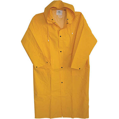 """Boss Gloves 3PR8000YX 48"""" Extra Large Yellow 35mm Lined PVC Raincoat"""