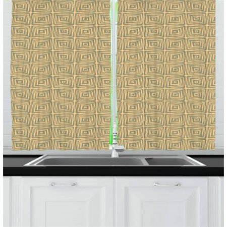 Earth Tones Curtains 2 Panels Set, Geometric Trippy Line Inner Square Tile Grunge Urban Contemporary, Window Drapes for Living Room Bedroom, 55W X 39L Inches, Pale Orange Reseda Green, by Ambesonne