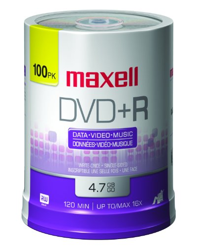 Maxell 639016 4.7 Gb Dvd+r [100-ct Spindle] (maxell Mxldvd+r 100) by Maxell