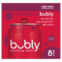 Bubly Cranberry Sparkling Water, 12 fl oz, 8 count