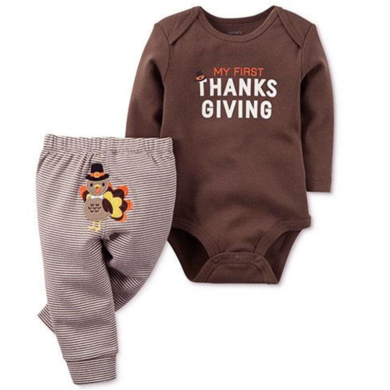 3Pcs Toddler Baby Boys Girls Long Sleeve Thanksgiving Romper+Hat+Socks Outfits