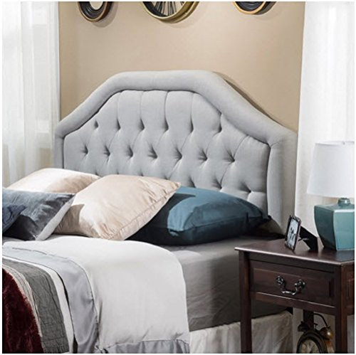Angelica Button Diamond Tufted Upholstered Suede Iron Frame Adjustable Full/Queen-size Wingback Bed Headboard with Black Legs -
