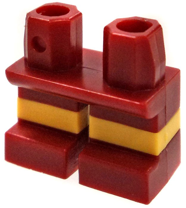 LEGO Short Dark Red with Horizontal Yellow Stripe Loose Legs [Dual Color]