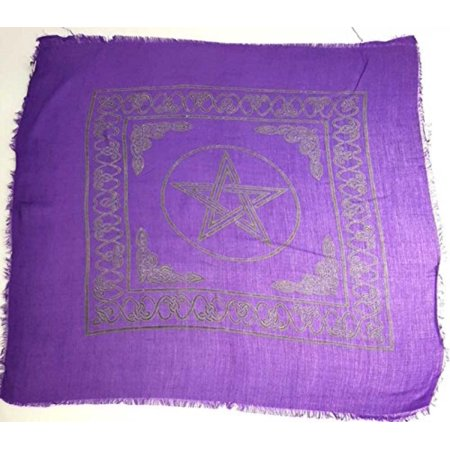 Celtic Cloths - Pentagram Altar Or Tarot Cloth, A black pentagram and celtic border boldly jump off of the purple background, instantly catching the eye. By New Age