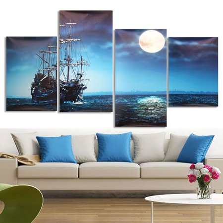 Moaere 4 Panels Art Sea Ship Wall Art Oil Painting Giclee Landscape Canvas Prints for Home Decorations Unframed - Sea Decoration Ideas
