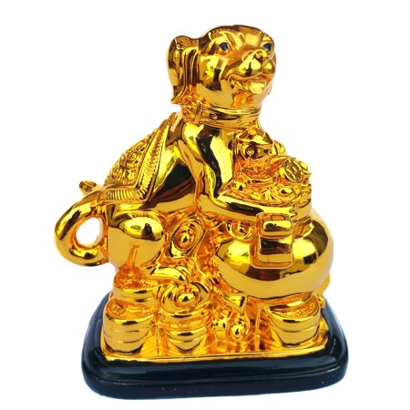 Feng Shui 2018 Good Fortune Zodiac Dog with Treasure pot Statue Figurine Decoration for Wealth Luck](Dog Decorations)