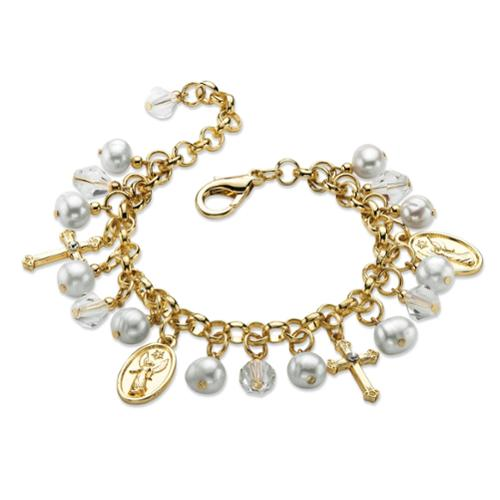 """Round Simulated Pearl and Crystal Religious Charm Bracelet in Gold Tone 8"""""""