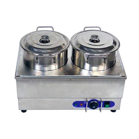 Techtongda 1500W Commercial Food Warmer Portable Steam Table Countertop 2 Pots Soup -