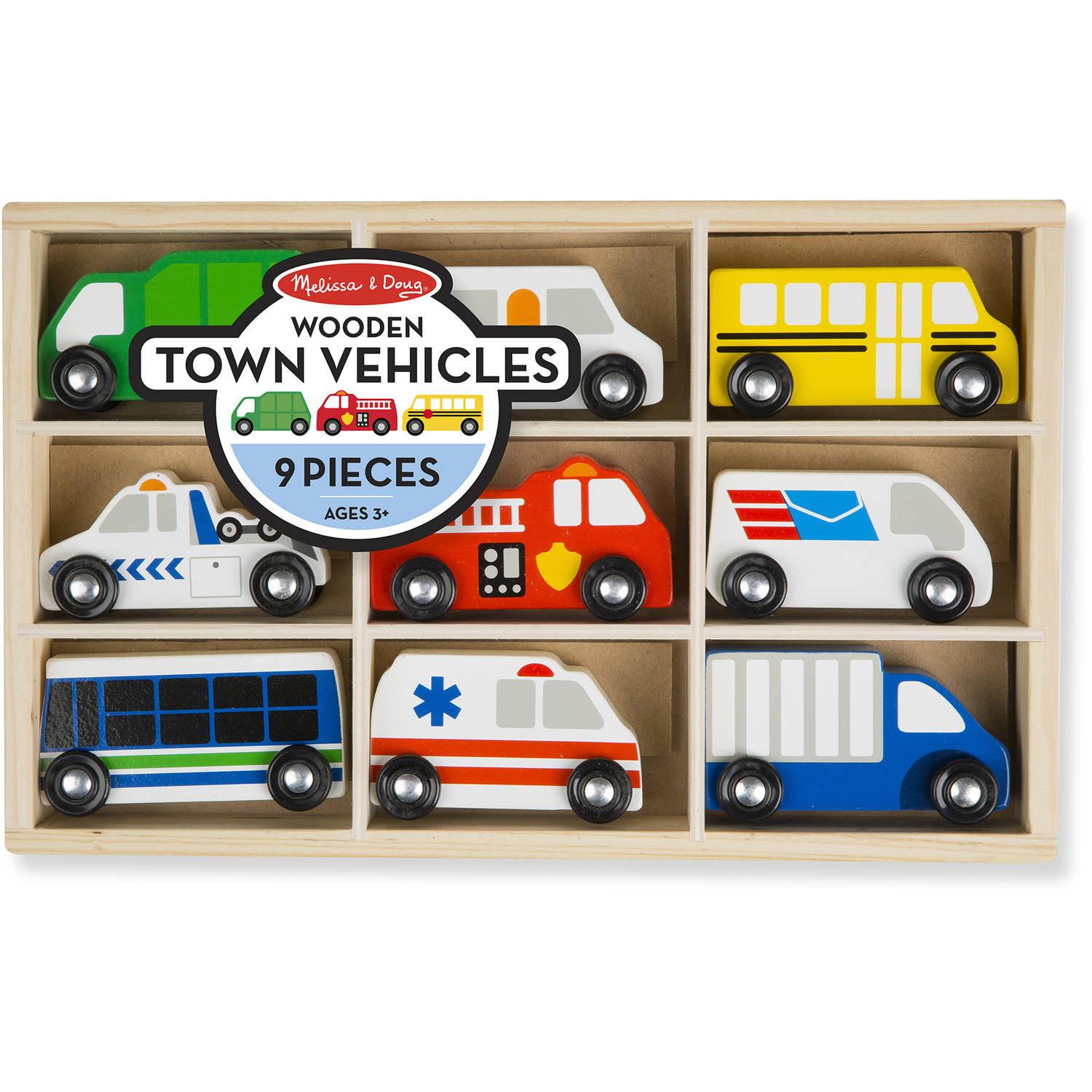 Melissa & Doug Wooden Town Vehicles Set in Wooden Tray, 9pc