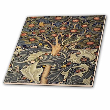 3dRose Image of William Morris Woodpecker In Gray Orange And Ivory - Ceramic Tile, 6-inch ()