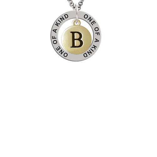 Capital Gold Tone Letter - B - Pebble Disc - One of a Kind Affirmation Ring Necklace
