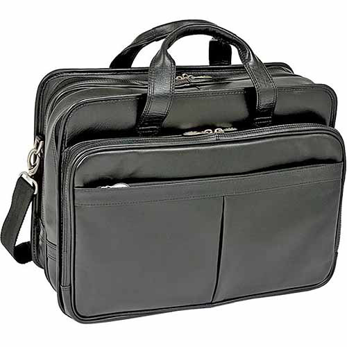 "McKlein 17"" Walton Expandable Double Compartment Leather Laptop Case with Removable Sleeve, Black by McKleinUSA"