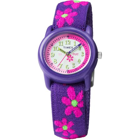 Girls Time Machines Purple Floral Watch, Elastic Fabric Strap
