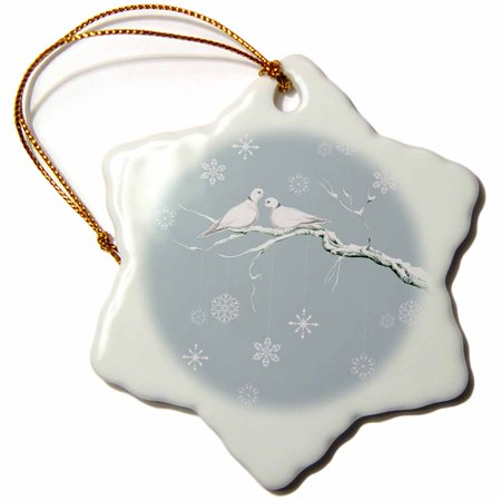 3dRose Two Turtle Doves and pretty snowflake ornaments at Christmas, Snowflake Ornament, Porcelain, 3-inch
