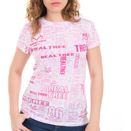 Realtree and Mossy Oak Women's All Over Print V-Neck Tee