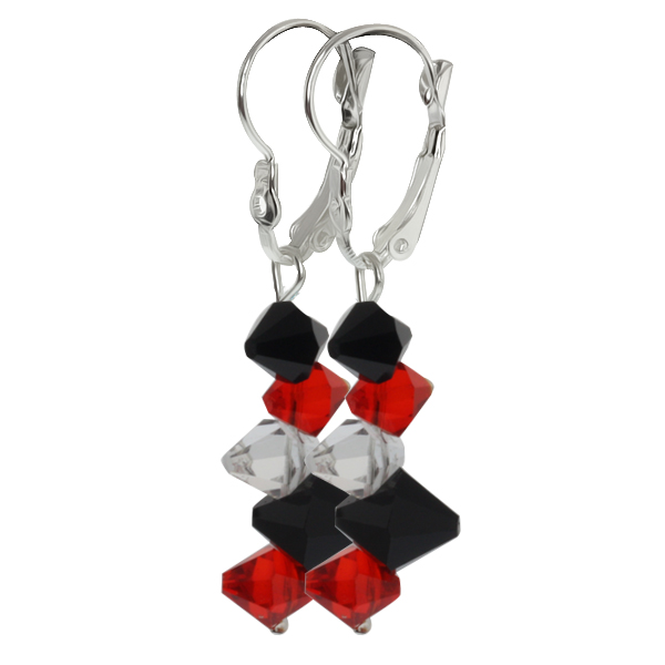 "2"" Red Black and White Faceted Crystal Dangle Hook Earrings For Women"