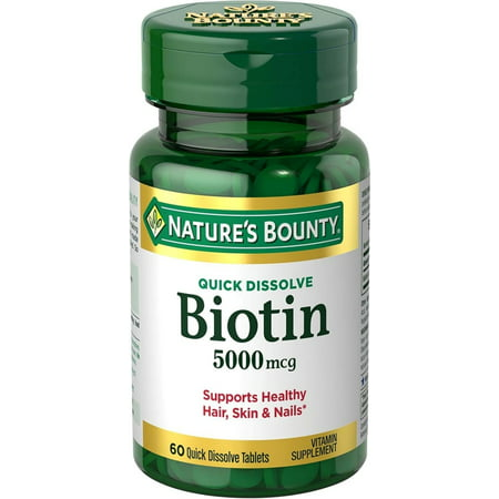 Skin Biotin Supplement (Nature's Bounty Biotin 5000 mcg, 60 Quick Dissolve)