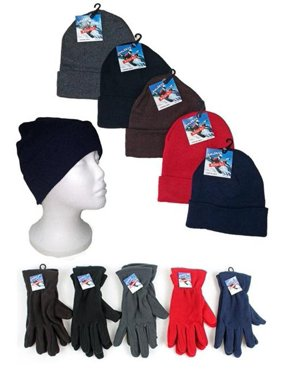 bcff7347259 Product Image Eros 6019A-20F Premium Adult Cuffed Knit Hats   Womens Fleece Gloves  Combo Packs -