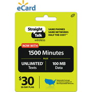 Straight Talk 1,500 Mins/Unlimited Text Monthly $30 (Email Delivery)