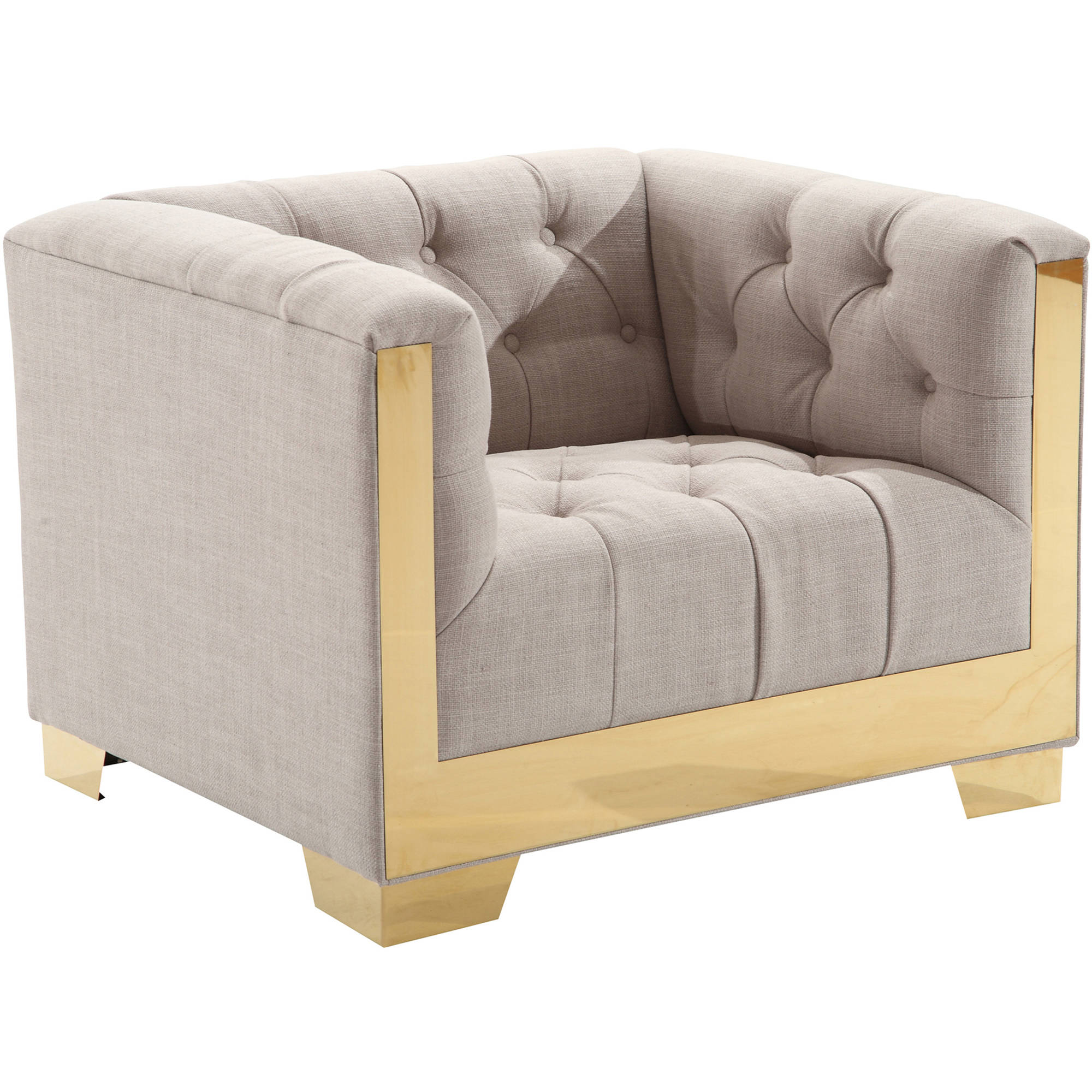 ARMEN LIVING Zinc Contemporary Chair, Taupe Tweed and Shiny Gold Finish