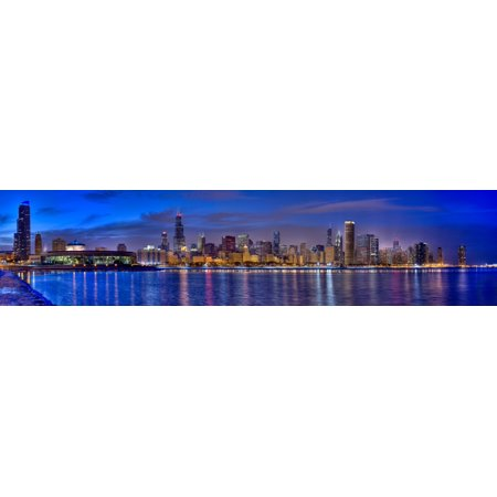 Skylines at the waterfront at dusk Chicago Cook County Illinois USA Canvas Art - Panoramic Images (5 x 20)