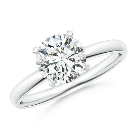 Diamond Ring Platinum Rings - April Birthstone Ring - Classic Round Diamond Solitaire Ring in Platinum (7.4mm Diamond) - SR1506D-PT-HSI2-7.4-7