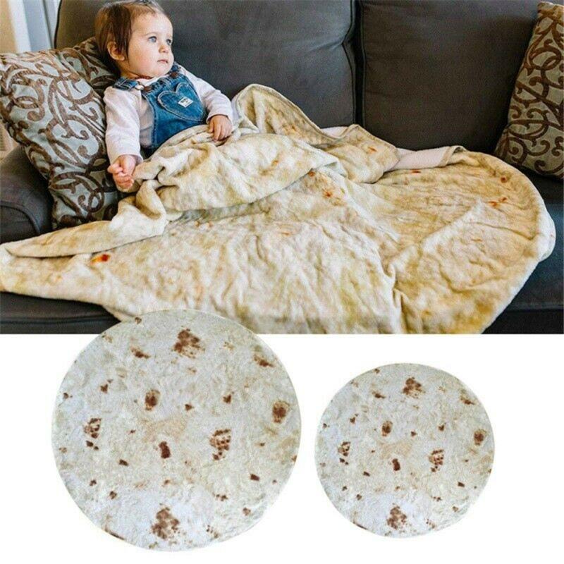 Burrito Funny Blanket Throw Tortilla Texture Super Soft Fleece Throw Blanket