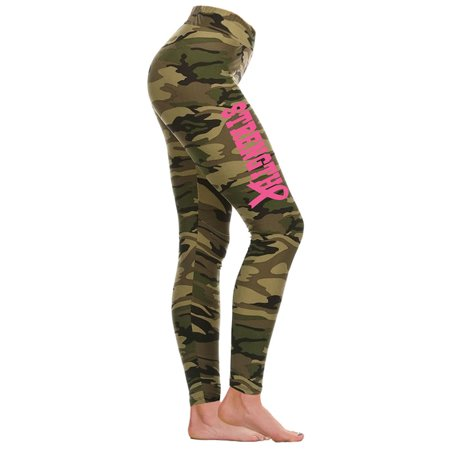 Junior's Pink Ribbon Strength V609 Camo Athletic Workout Leggings One Size Fits
