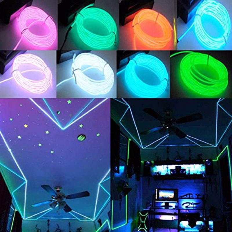 3 Colors On Clearance 1M Flash Flexible Neon Light Glow El Strip Tube Wire Rope Kit
