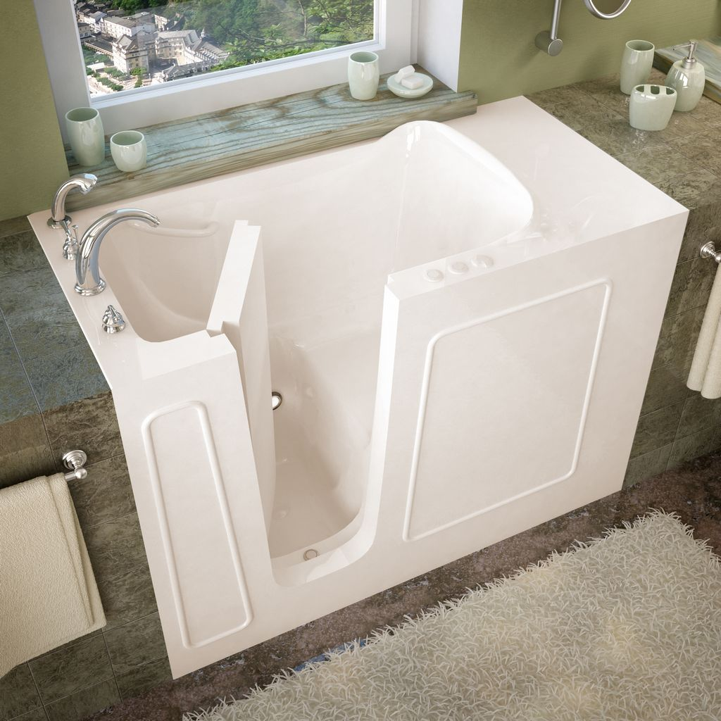 Meditub 26x53 Left Drain Biscuit Soaking Walk-In Bathtub