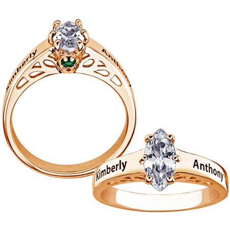 67f72d4e8a Personalized Planet Jewelry - Personalized Couple's CZ Marquise 14kt Gold  over Sterling Silver Name and Birthstone Promise Ring - Walmart.com