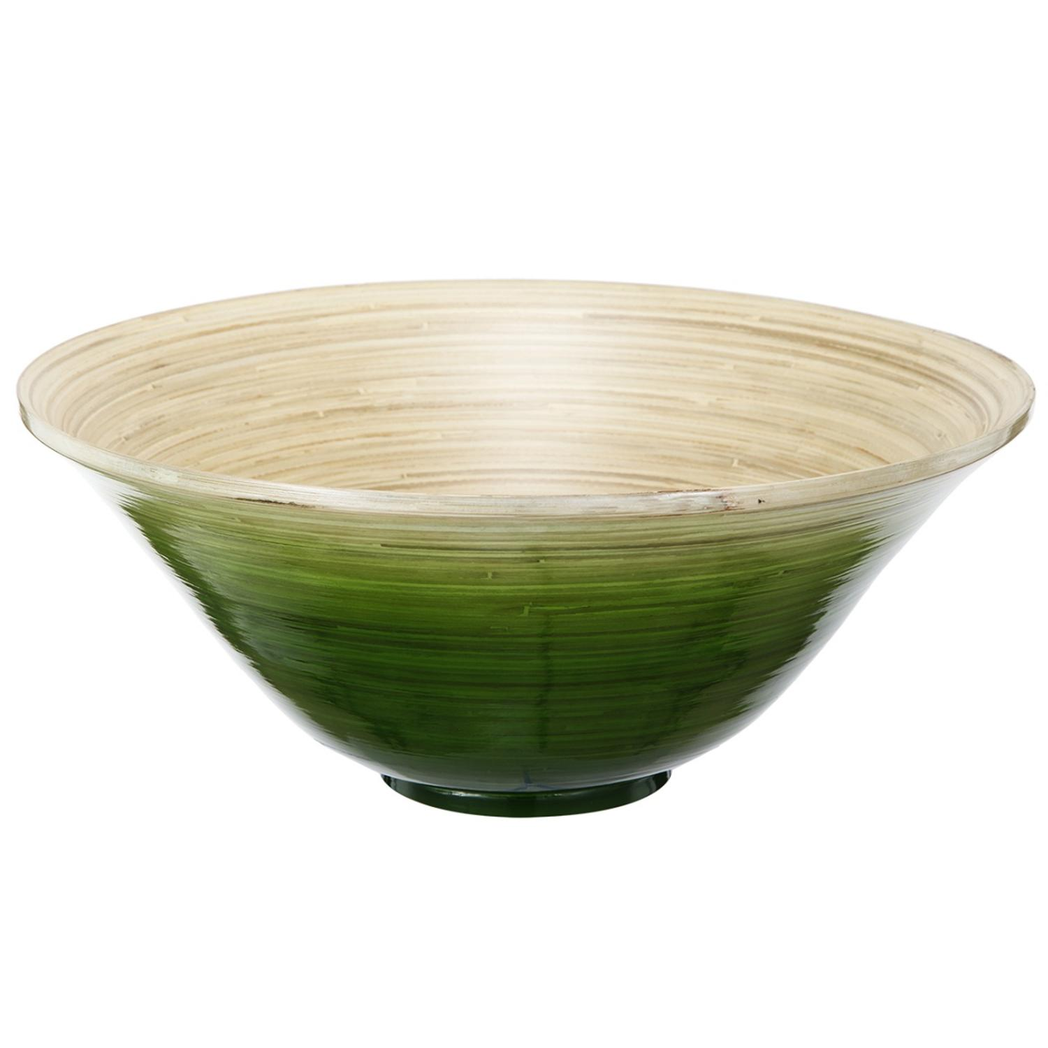 """15.75"""" Green and Tan Decorative Ombre Dynasty Bamboo Bowl by A & B Home"""