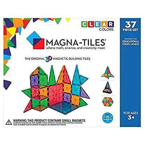 Magna-Tiles 37-Piece Clear Colors Set – The Original, Award-Winning Magnetic Building Tiles – Creativity and Educational – STEM Approved