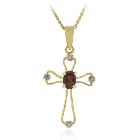 Glitzy Rocks  18k Gold Overlay Garnet Diamond Cross (Garnet Cross)