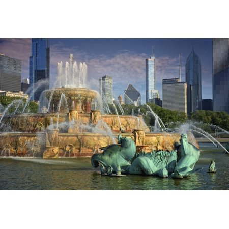 USA, ILlinois, Chicago, Buckingham Fountain in Downtown Chicago Print Wall Art By Petr - Halloween Parties In Downtown Chicago