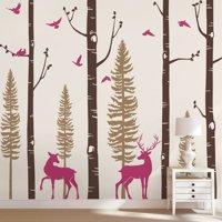 Pine Tree Birch Tree Deer Birds
