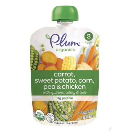 Plum Organics Stage 3, Organic Baby Food, Carrot, Sweet Potato, Corn, Pea & Chicken, 4oz Pouch (Pack of 6)