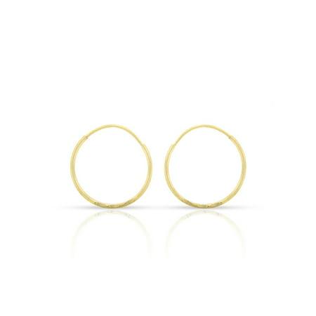 14k Yellow Gold Womens Diamond Cut 0.8mm Round Endless Tube Hoop Earrings 12mm Diameter